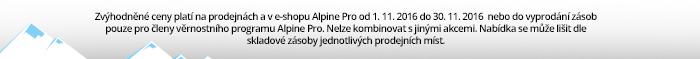 Akce platí pouze na e-shopu na objednávky a rezervace zadané dne 28.10. 2016. Akci nelze kombinovat svěrnostním Alpine Programem a jinými slevovými akcemi.
