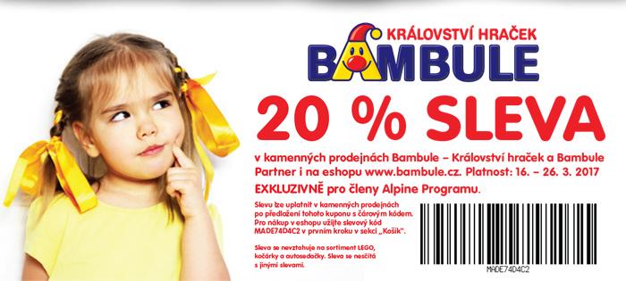 20% Sleva do Bambule pro členy Alpine Programu