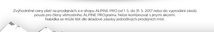 Zvýhodněné ceny platí na prodejnách a e-shopu ALPINE PRO od 1. 5. do 31. 5. 2017 nebo do vyprodání zásob.