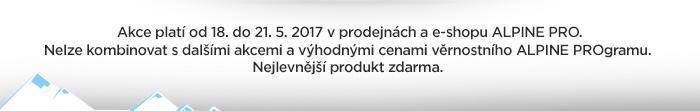 Akce platí od 18. do 21. 5. 2017 v prodejnách a e-shopu ALPINE PRO. Nelze kombinovat s dalšími akcemi a výhodnými cenami věrnostního ALPINE PROgramu. Nejlevnější produkt zdarma