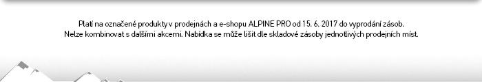 Platí na označené produkty na e-shopu ALPINE PRO od 15. 6. 2017 do vyprodání zásob.