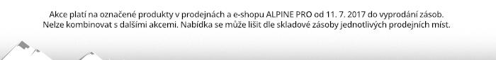 Akce platí na označené produkty v prodejnách a e-shopu ALPINE PRO od 11. 7. 2017 do vyprodání zásob.