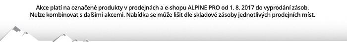Akce platí na označené produkty v prodejnách a e-shopu ALPINE PRO od 1. 8. 2017 do vyprodání zásob