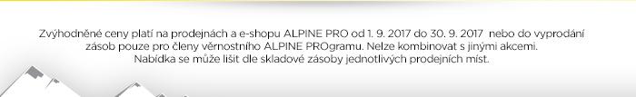 Zvýhodněné ceny platí na prodejnách a e-shopu ALPINE PRO od 1. 9. 2017 do 30. 9. 2017 nebo do vyprodání zásob, pouze pro členy věrnostního ALPINE PROgramu.