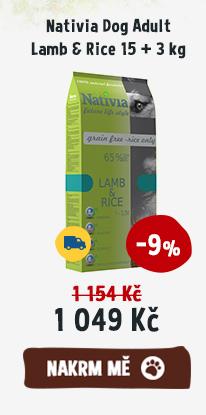 Nativia Dog Adult Lamb Rice 15 + 3 kg